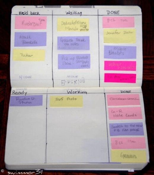 personal kanban board notebook