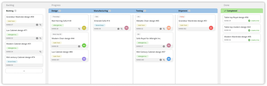 Teamhood task board with process columns