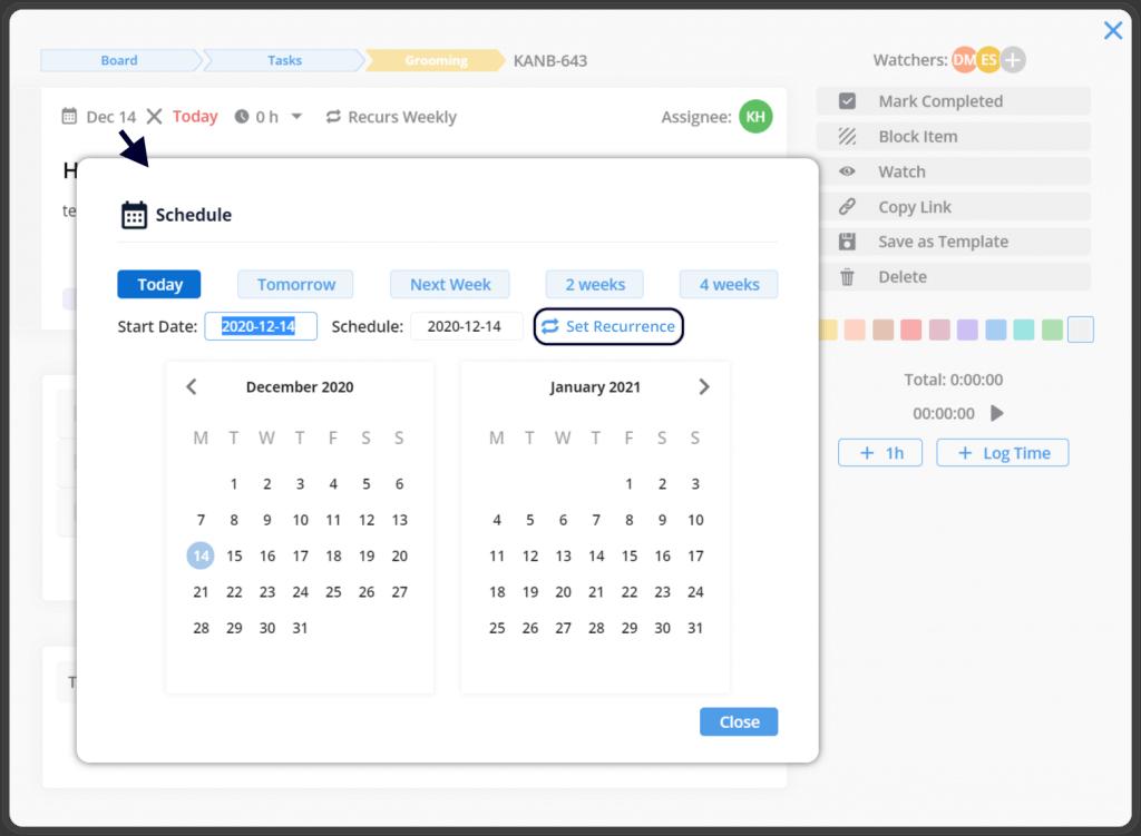 recurring start date