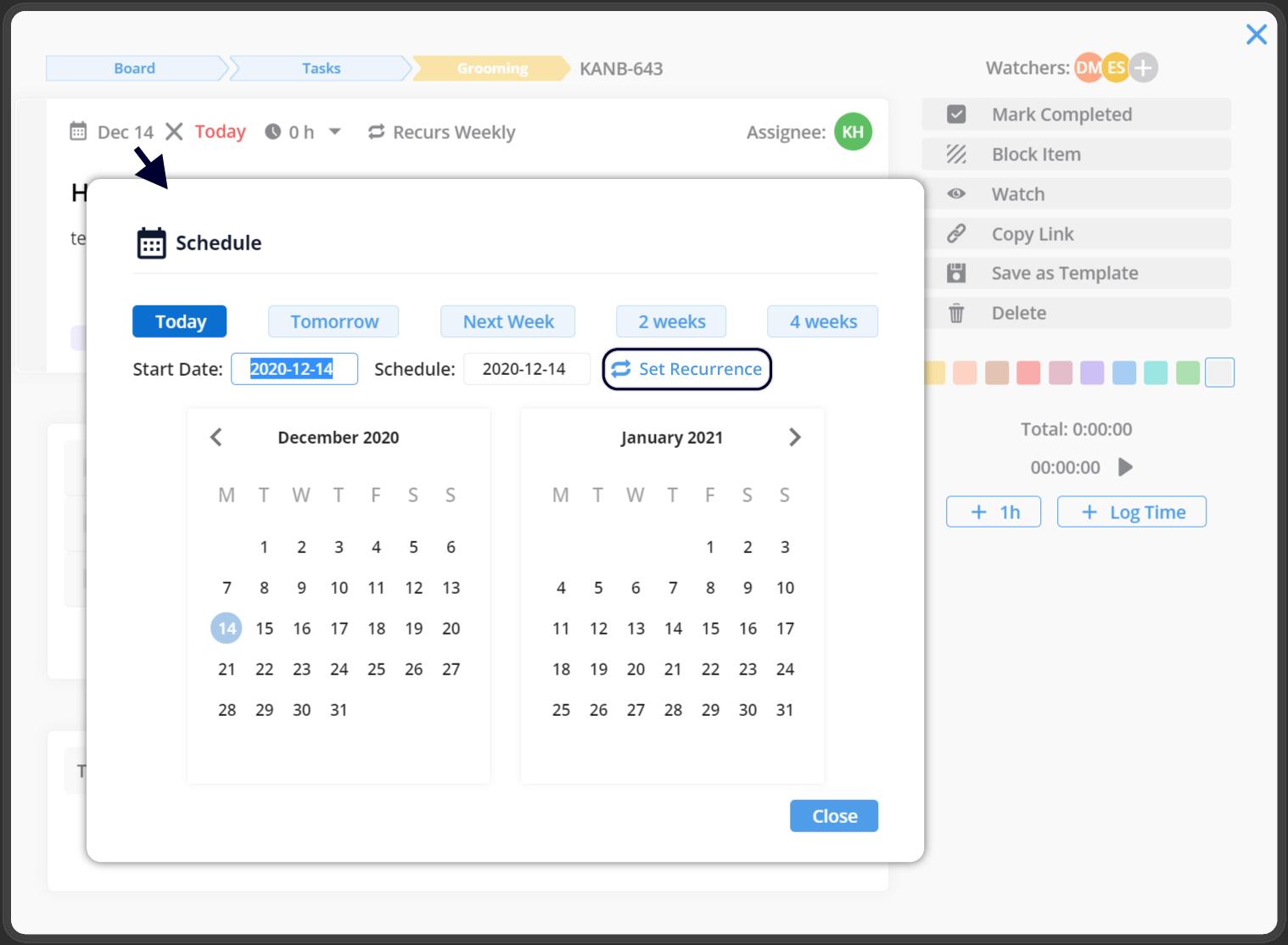 Set start date recurrence
