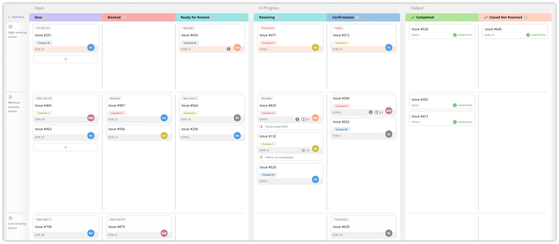 Issue tracking kanban board example
