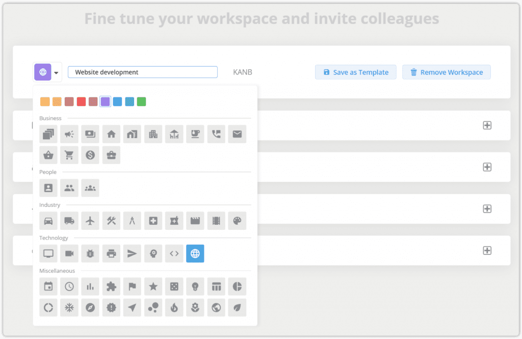 workspace icon and color