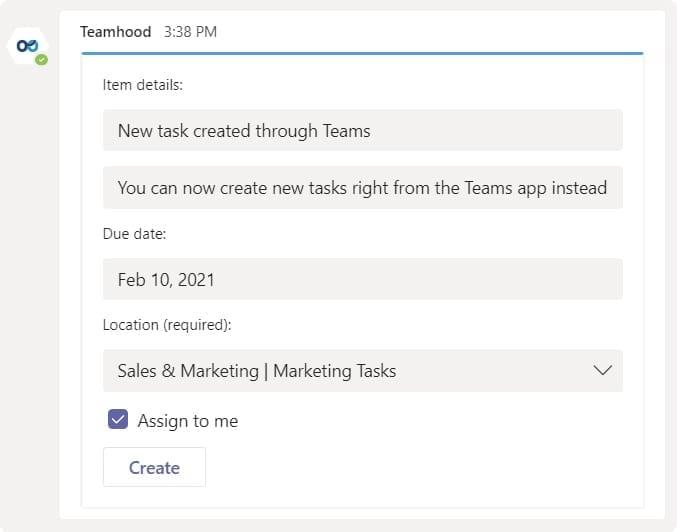 Teamhood and Microsoft Teams integration new task