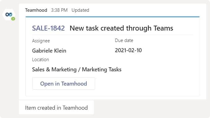 Teamhood task created