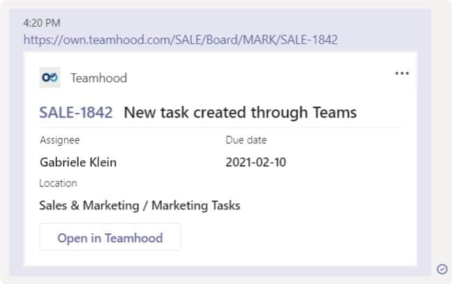 teamhood and microsoft teams integration