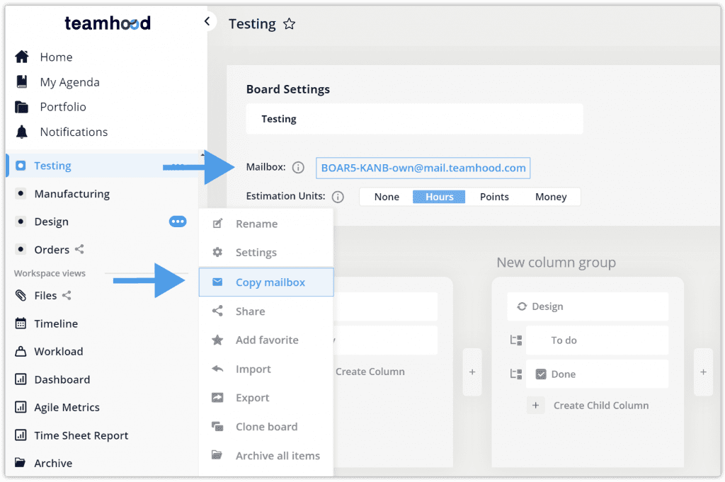 teamhood version 1.11 email to create new task