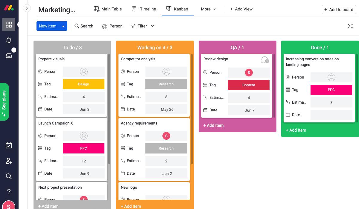 monday vs teamhood kanban board